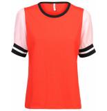 Summum 3s4275-30058 353 top short sleeve colorblock top scarlett red rood