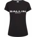 Ballin Amsterdam Dames t-shirt zilver zwart
