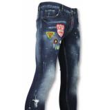 Addict Jeans met patches heren blauw