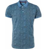 No Excess Polo, s/sl, melange, ao print, cold blue blauw