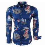 Ferlucci Heren overhemd christmas design blauw