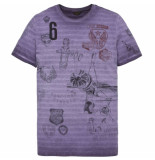 PME Legend Short sleeve r-neck striped jersey gothic grape paars