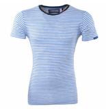 Earthbound Heren tshirt ronde hals gestreept slim fit wit blauw