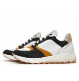 Via Vai Artikelnummer 5203064 sneaker wit/zwart/geel met chucky zool