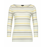 Claudia Sträter T-shirt striped long sleeved grey / yellow grijs