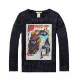 Scotch R'Belle T-shirt polkadot photo print longsleeve black zwart