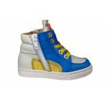 MAÁ hoge sneaker offwhite blauw en geel leer- beige
