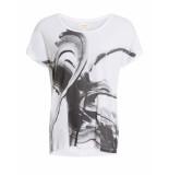 Numph T-shirt printed tee bright white zwart
