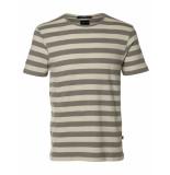Selected Homme T-shirt striped elephant skin bruin
