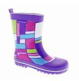 Color Kids Kinder regenlaarzen sjappo met gekleurde blokken paars