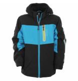 Color Kids Zwarte waterproof winter softshell jas jicola met blauwe accenten