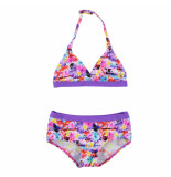Boobs & Bloomers Boobs & bloomers halter kinder bikini met flamingo print paars