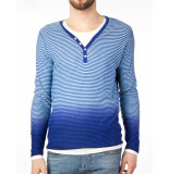 Scotch & Soda Shirt dubble tee striped horizon dip dyed blue blauw