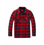 Scotch & Soda Amsterdams Blauw Overhemd block pattern red rood