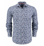 New Zealand Auckland Overhemd printed shirt grey/blue blauw