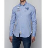 La Martina Overhemd man shirt l/s oxford stretch kentucky blue blauw