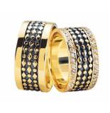 Christian Gouden trouwringen met 2 rijen diamanten
