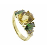 Christian Gouden ring met citrien en smaragd geel goud