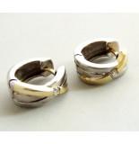 Christian Bicolor gouden oorbellen met diamant geel goud