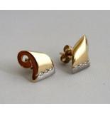 Christian Bicolor oorbellen met diamanten geel goud