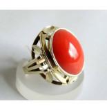 Casio Ocn ring met bloedkoraal geel goud