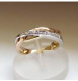 Christian Gouden tricolor ring met diamanten
