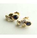 Christian Gouden saffieren oorbellen met diamanten