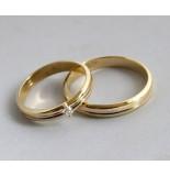 Christian Gouden bicolor trouwringen met diamant geel goud