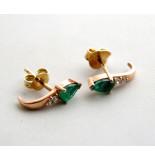 Christian Gouden oorbellen met smaragd en zirkonia geel goud
