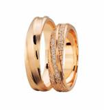 Christian Rosé gouden trouwringen met 3 rijen diamanten