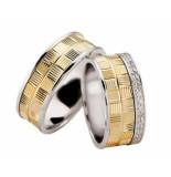 Christian Bicolor diamanten trouwringen geribbeld