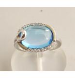 Christian Gouden ring met topaas en diamant wit goud