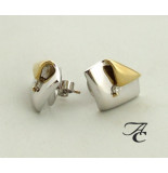 Atelier Christian Bicolor oorbellen met briljant geel goud