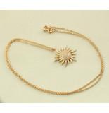Christian Rose gouden collier en zirkonia zonnehanger rosé goud