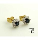 Christian Bicolor gouden oorbellen met saffier en diamant geel goud