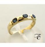 Atelier Christian Gouden ring met briljant en saffier