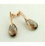 Christian Gouden oorbellen met rookkwarts en diamant