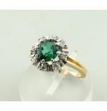 Christian Bicolor ring met diamant en synthetische toermalijn