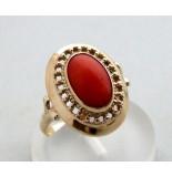 Casio Ocn gouden ring met bloedkoraal