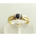 Christian Gouden saffieren ring met diamanten geel goud