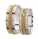 Christian Bicolor gevlochten trouwringen met 2 rijen diamanten geel goud