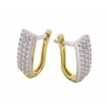 Christian Bicolor gouden oorclips met zirkonia geel goud