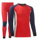 Helly Hansen Rood / wit / blauwe thermo ondergoed set active met merino wol