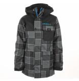 O'Neill Zwart / grijs geblokte jongens ski jas volcano waterproof