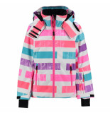 Reima Gestreepte meisjes ski jas frost met 15.000mm waterkolom roze