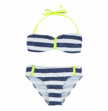 Boobs & Bloomers Boobs & bloomers /wit gestreepte bandeau bikini vicky zipper blauw
