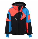 Spyder Met frans blauwe en oranje ski jas boy's leader met 10.000mm waterkolom zwart