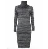 Tramontana Jurk turtleneck knit dark grey melange grijs