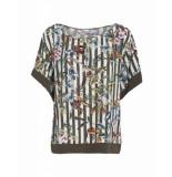 Summum 2s1990-10508 120 women top short sleeve striped flower print multicolour groen