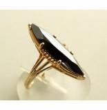 Christian 14 karaat gouden ring met hematiet geel goud